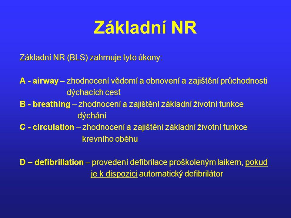 Základní NR Základní NR (BLS) zahrnuje tyto úkony: