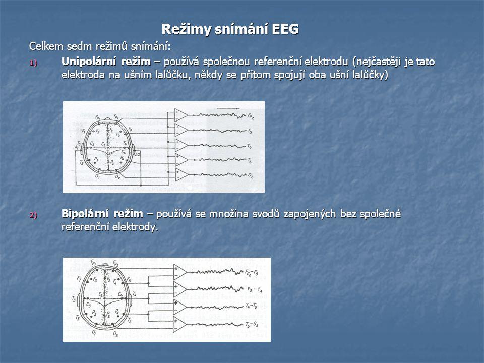 Režimy snímání EEG Celkem sedm režimů snímání: