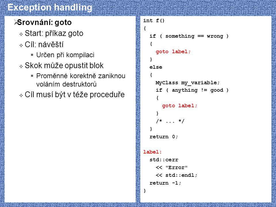 Exception handling Srovnání: goto Start: příkaz goto Cíl: návěští