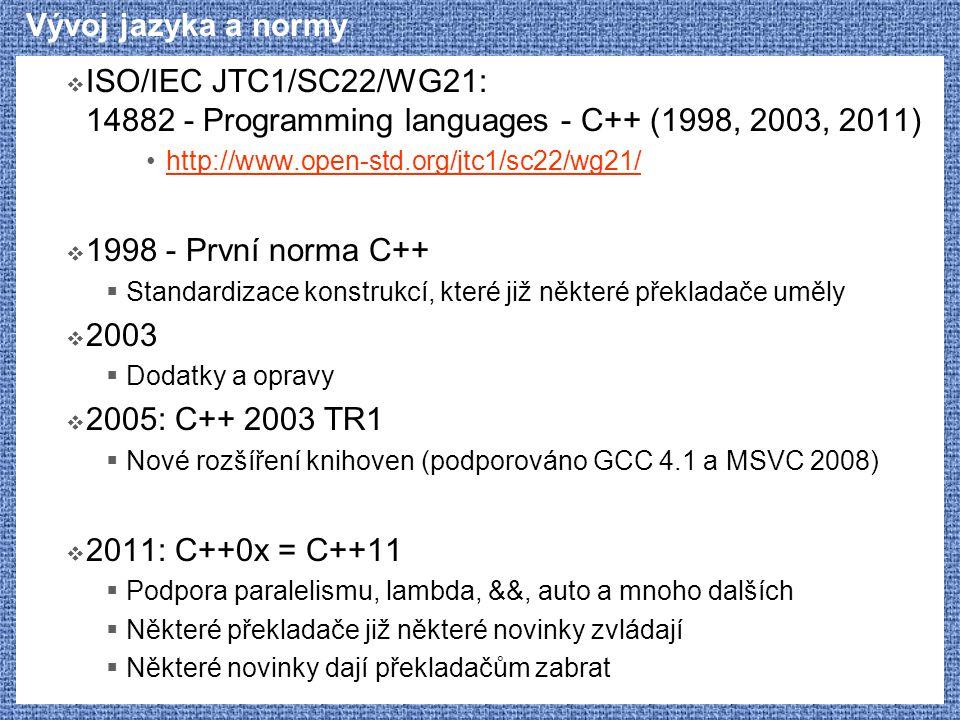 Vývoj jazyka a normy ISO/IEC JTC1/SC22/WG21: 14882 - Programming languages - C++ (1998, 2003, 2011)