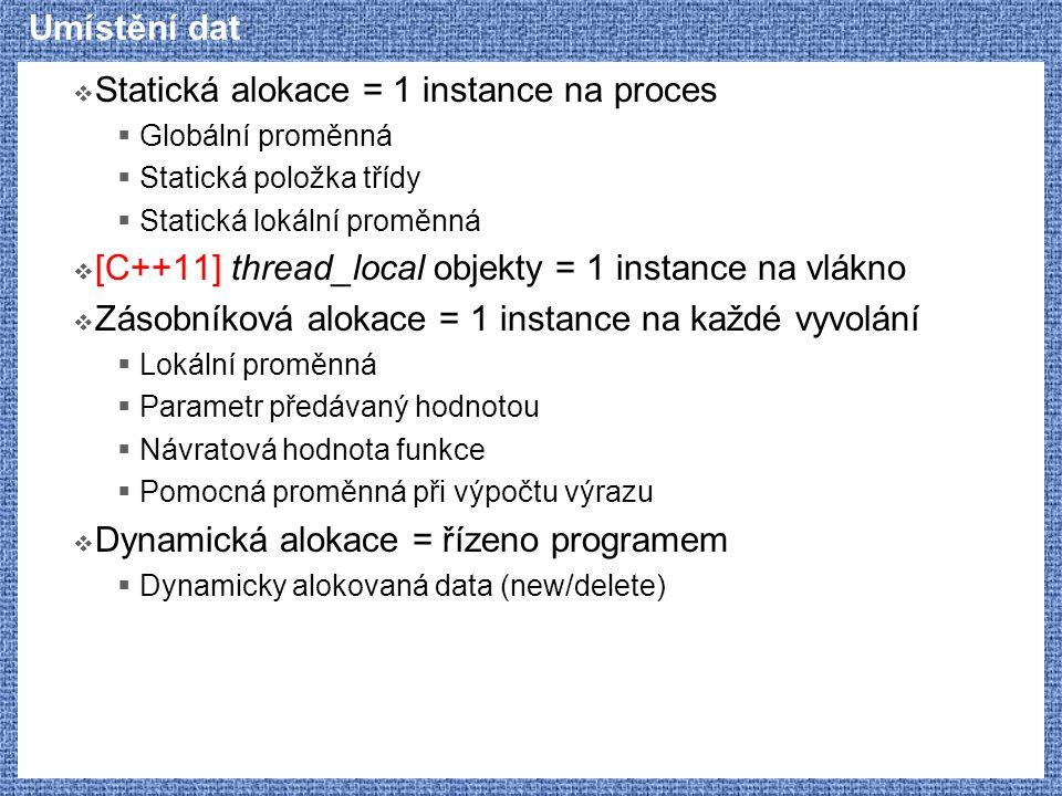 Statická alokace = 1 instance na proces