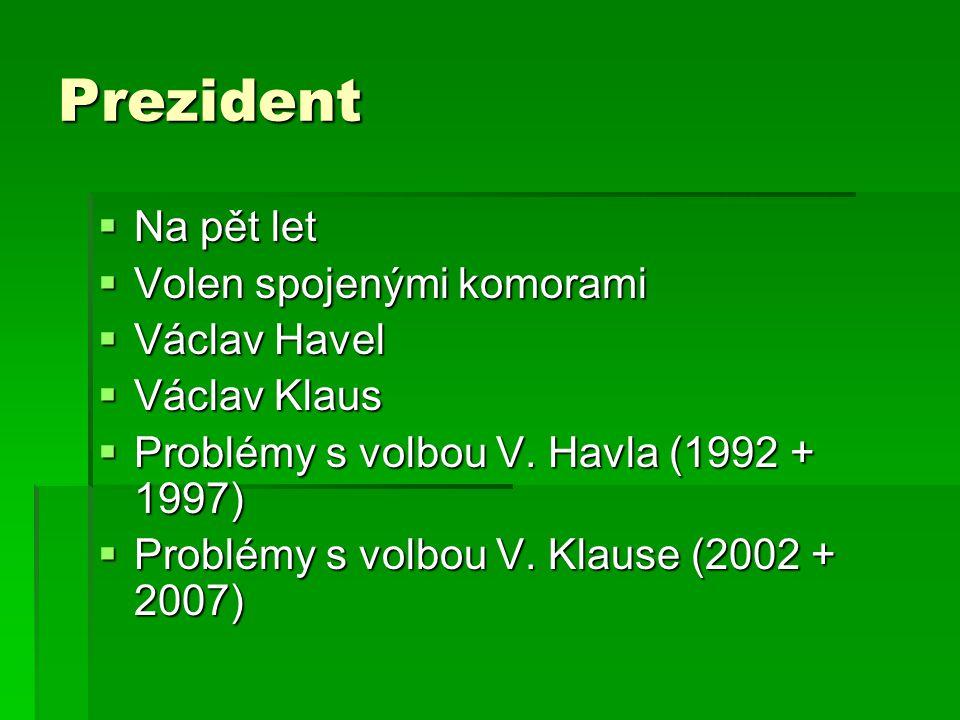 Prezident Na pět let Volen spojenými komorami Václav Havel