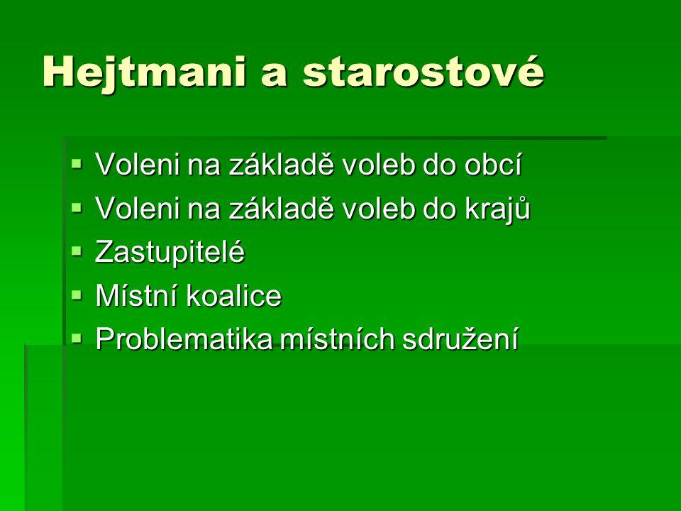 Hejtmani a starostové Voleni na základě voleb do obcí