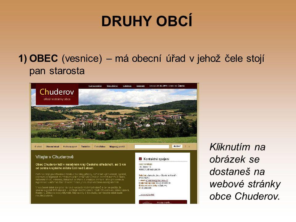 DRUHY OBCÍ OBEC (vesnice) – má obecní úřad v jehož čele stojí pan starosta.