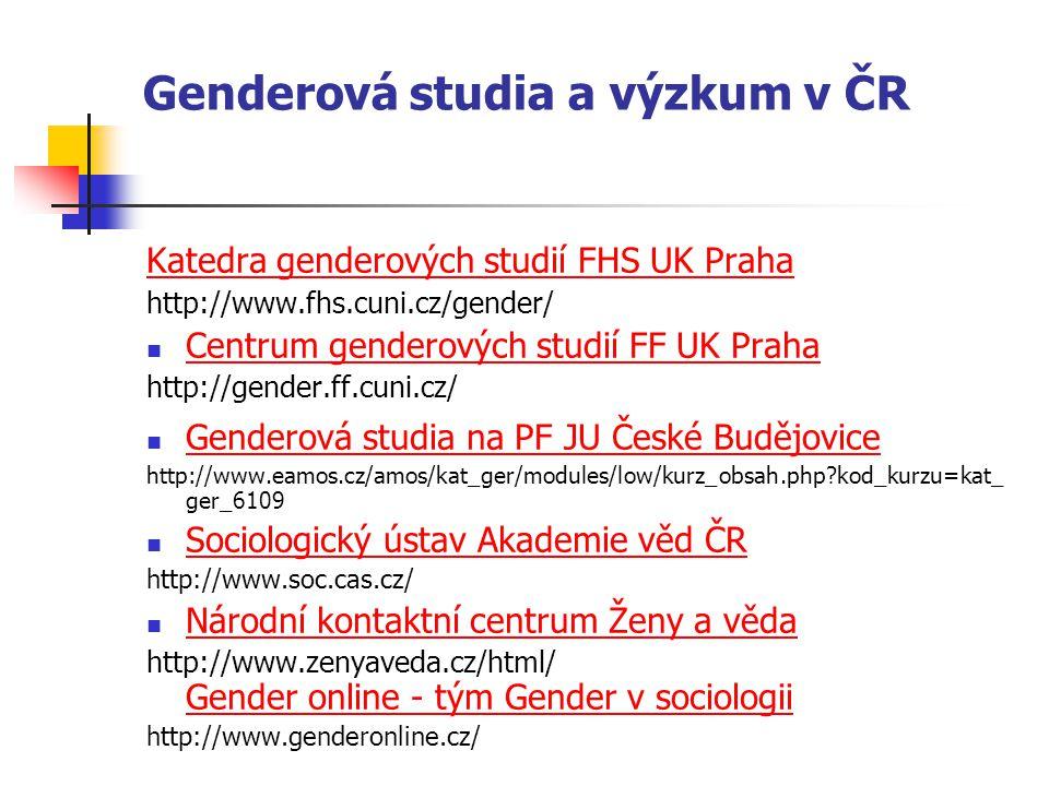 Genderová studia a výzkum v ČR