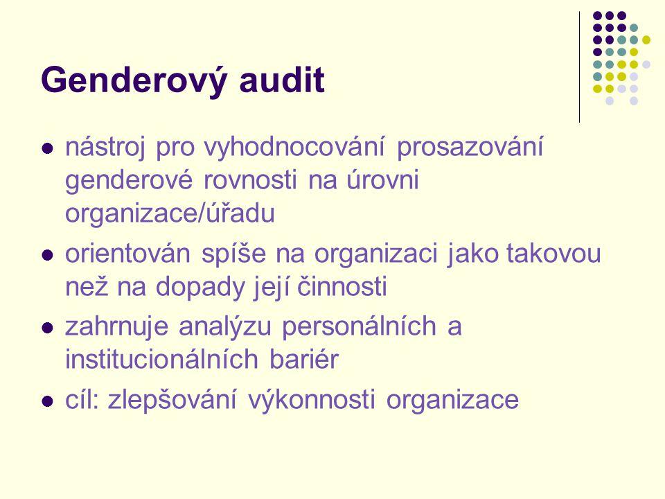 Genderový audit nástroj pro vyhodnocování prosazování genderové rovnosti na úrovni organizace/úřadu.
