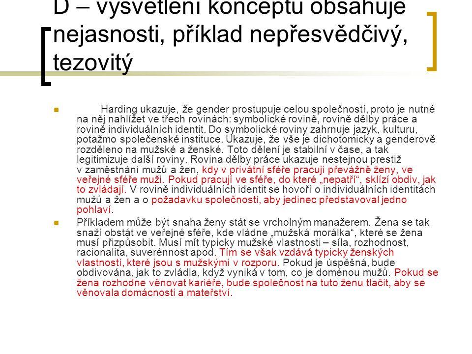 D – vysvětlení konceptu obsahuje nejasnosti, příklad nepřesvědčivý, tezovitý