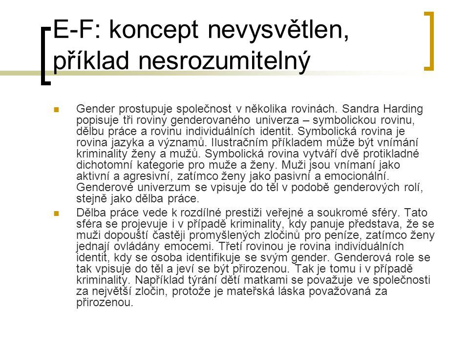 E-F: koncept nevysvětlen, příklad nesrozumitelný