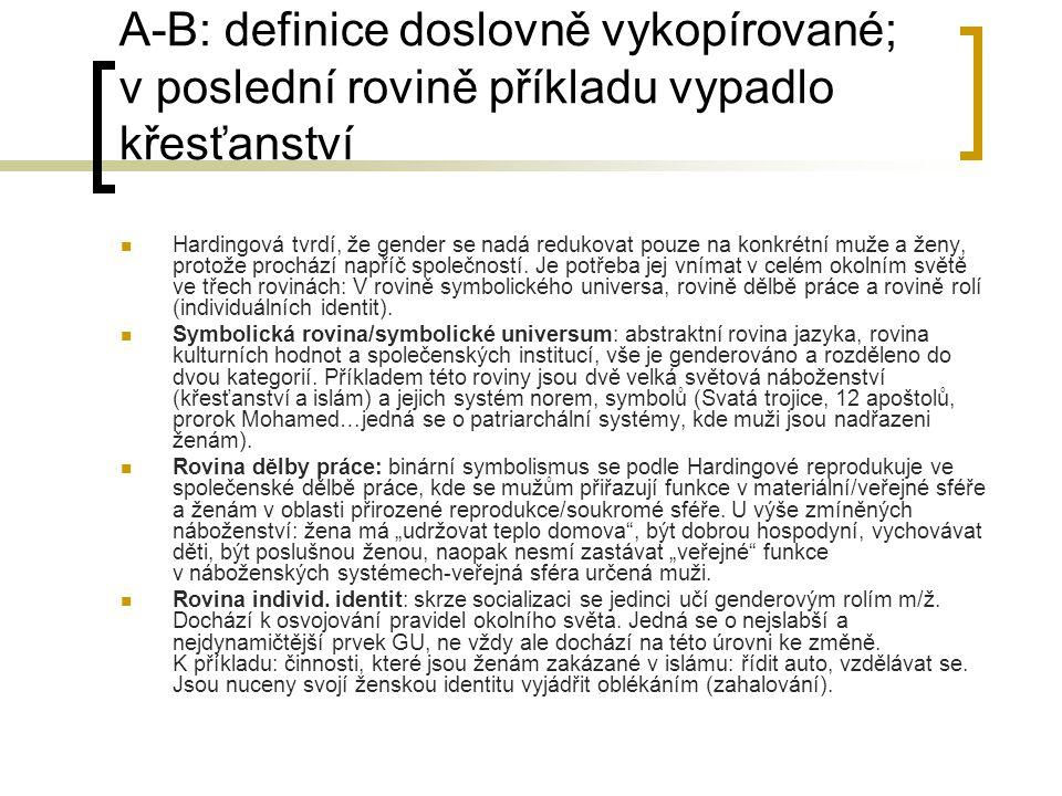 A-B: definice doslovně vykopírované; v poslední rovině příkladu vypadlo křesťanství