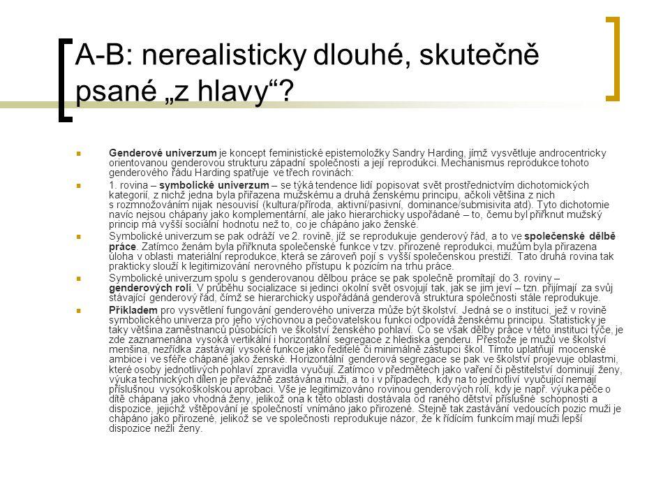 """A-B: nerealisticky dlouhé, skutečně psané """"z hlavy"""