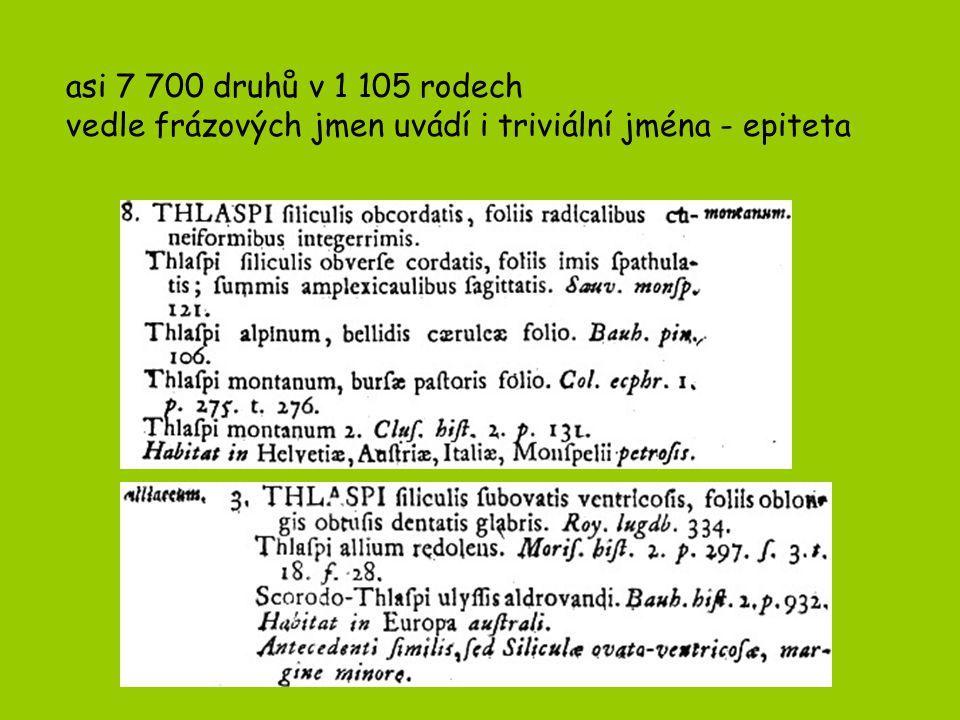 asi 7 700 druhů v 1 105 rodech vedle frázových jmen uvádí i triviální jména - epiteta