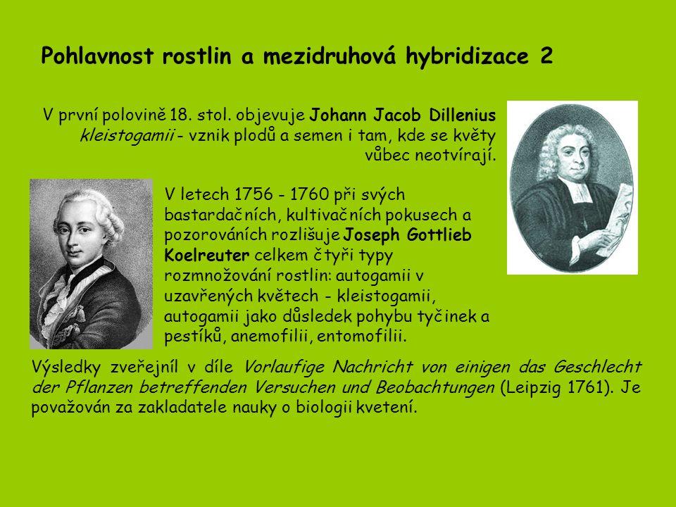 Pohlavnost rostlin a mezidruhová hybridizace 2