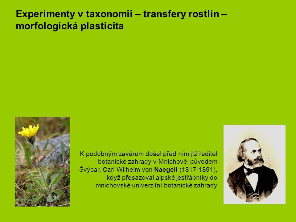 Experimenty v taxonomii – transfery rostlin – morfologická plasticita