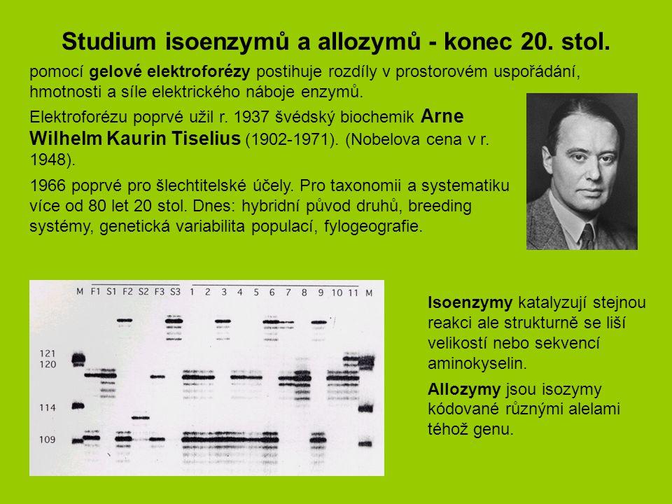 Studium isoenzymů a allozymů - konec 20. stol.