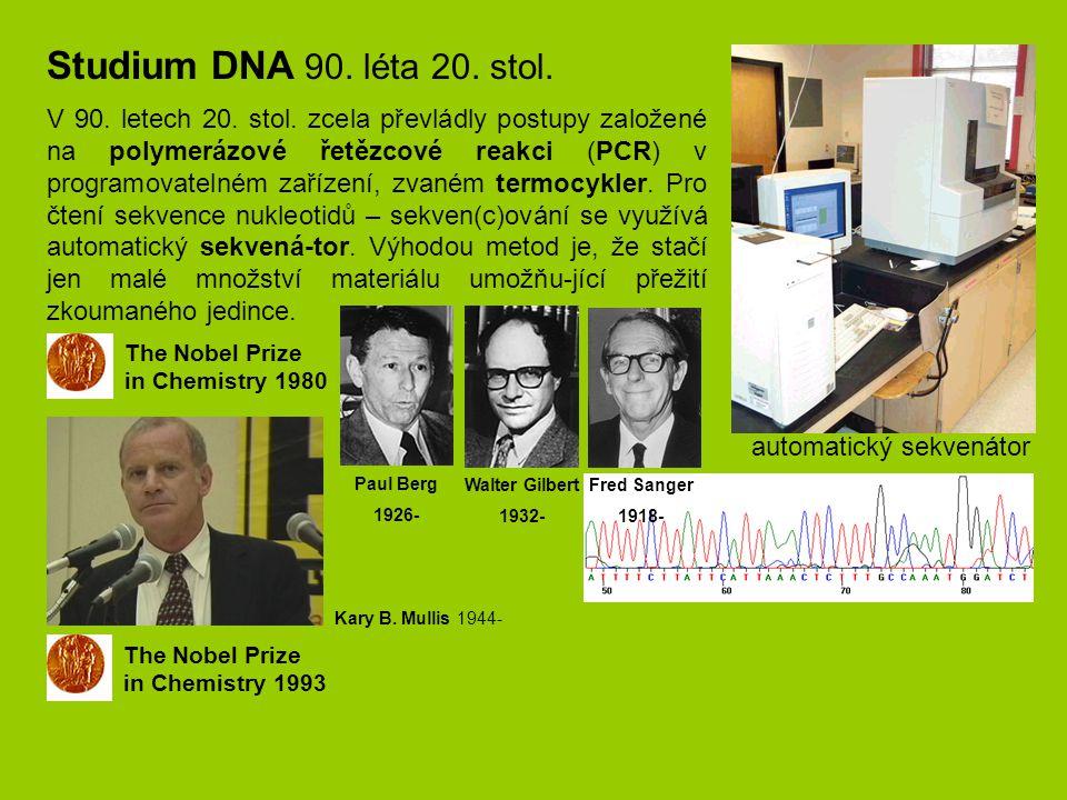 Studium DNA 90. léta 20. stol.