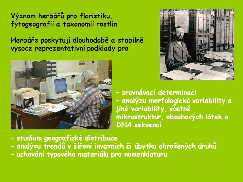 Význam herbářů pro floristiku, fytogeografii a taxonomii rostlin