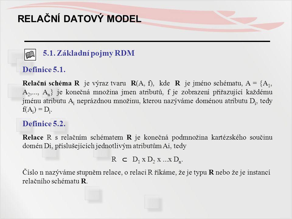 RELAČNÍ DATOVÝ MODEL 5.1. Základní pojmy RDM Definice 5.1.