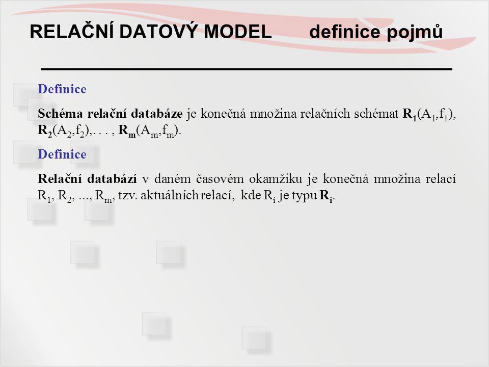RELAČNÍ DATOVÝ MODEL definice pojmů