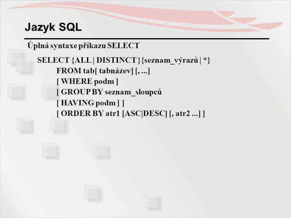 Jazyk SQL Úplná syntaxe příkazu SELECT