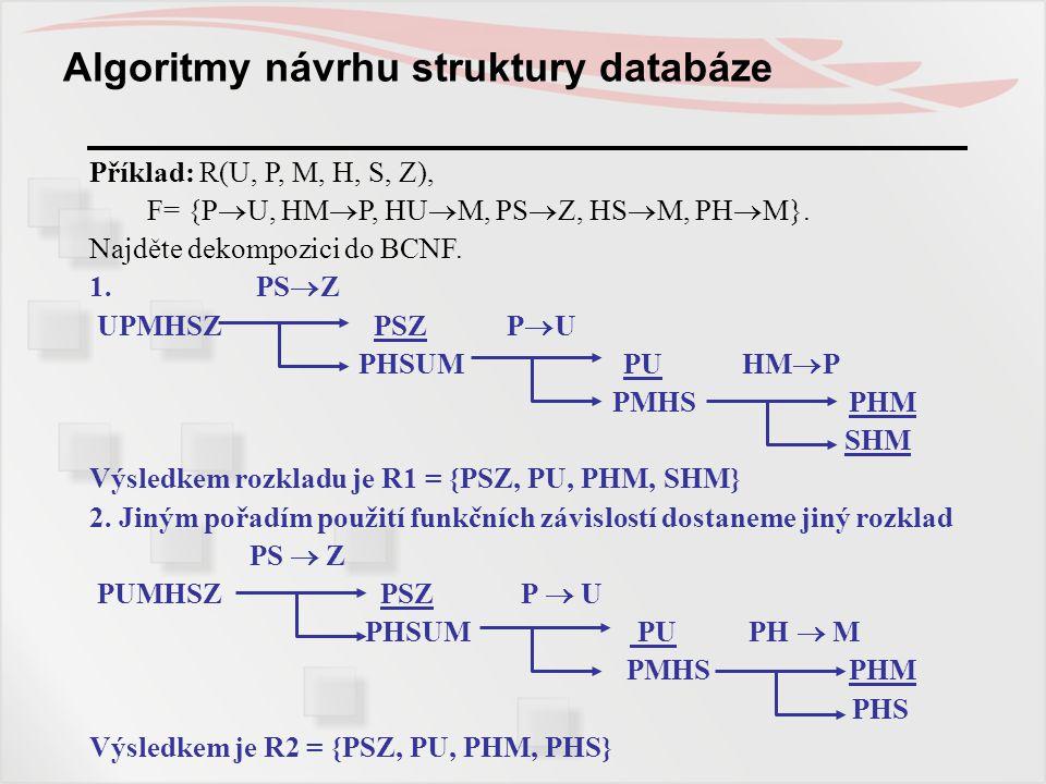 Algoritmy návrhu struktury databáze