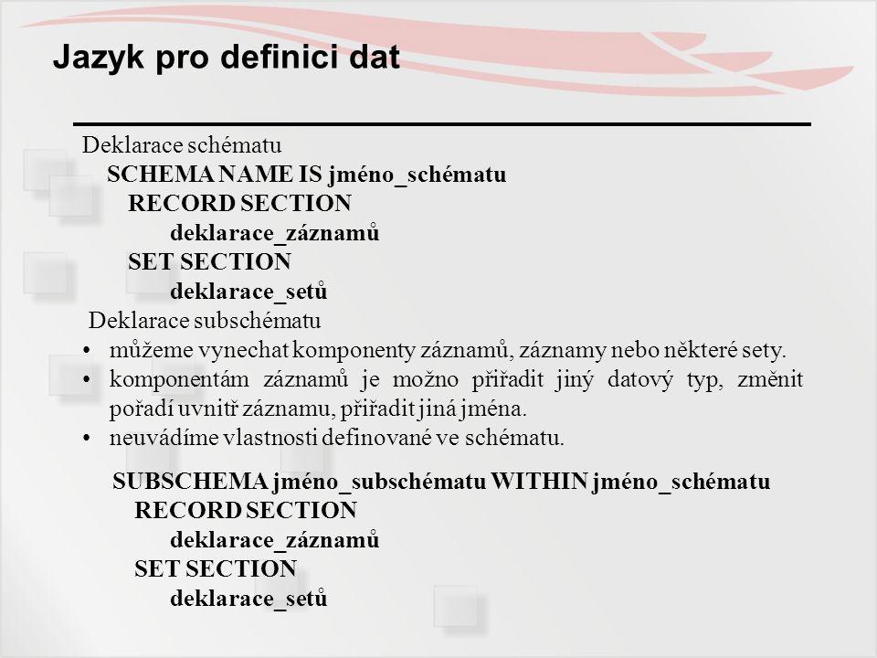 Jazyk pro definici dat Deklarace schématu