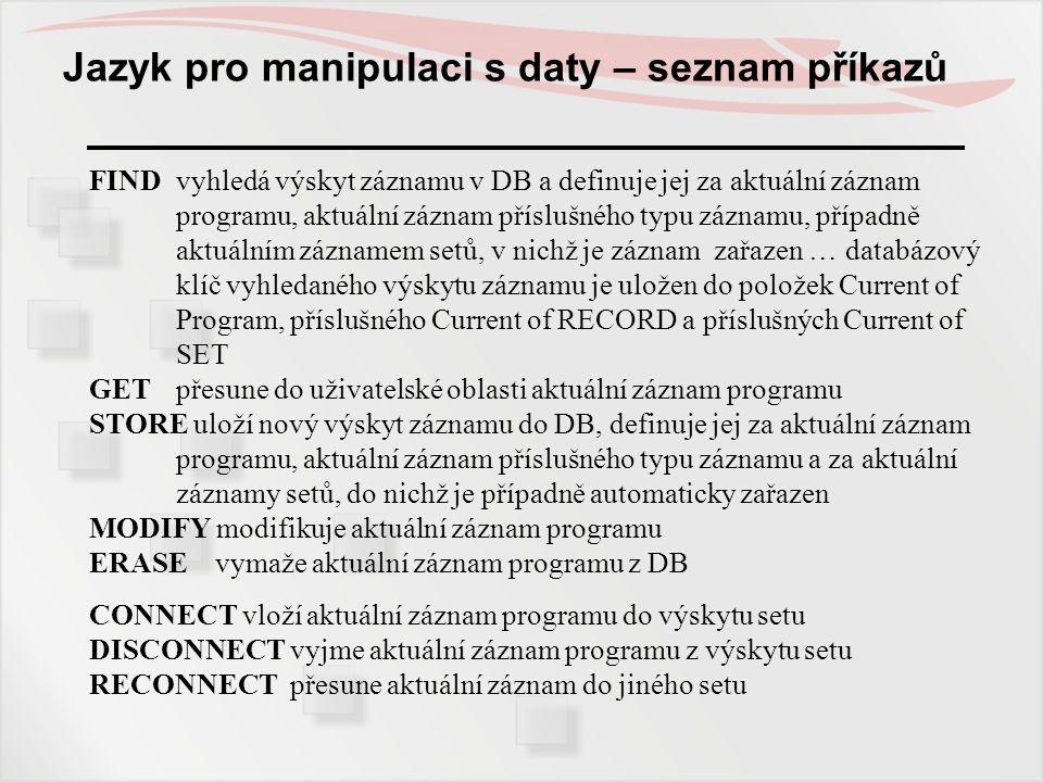 Jazyk pro manipulaci s daty – seznam příkazů