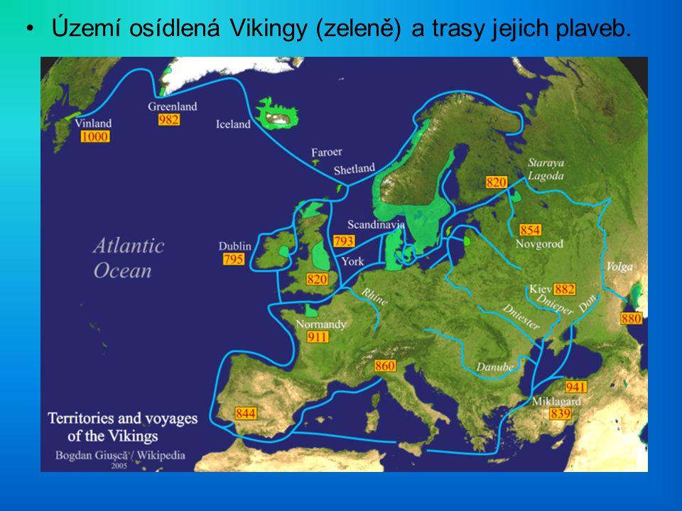 Území osídlená Vikingy (zeleně) a trasy jejich plaveb.