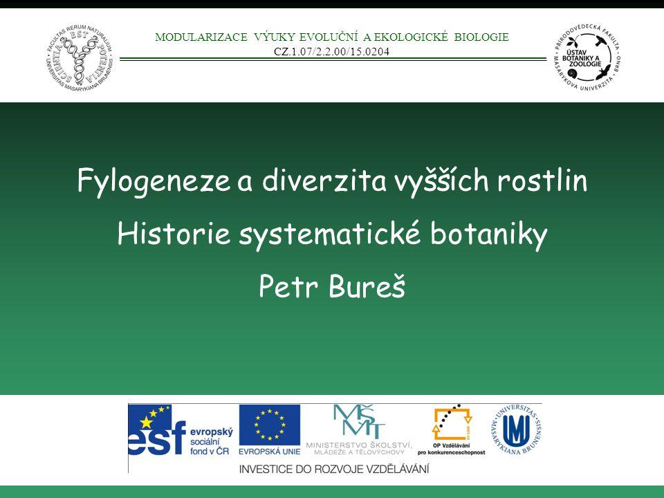 Fylogeneze a diverzita vyšších rostlin Historie systematické botaniky