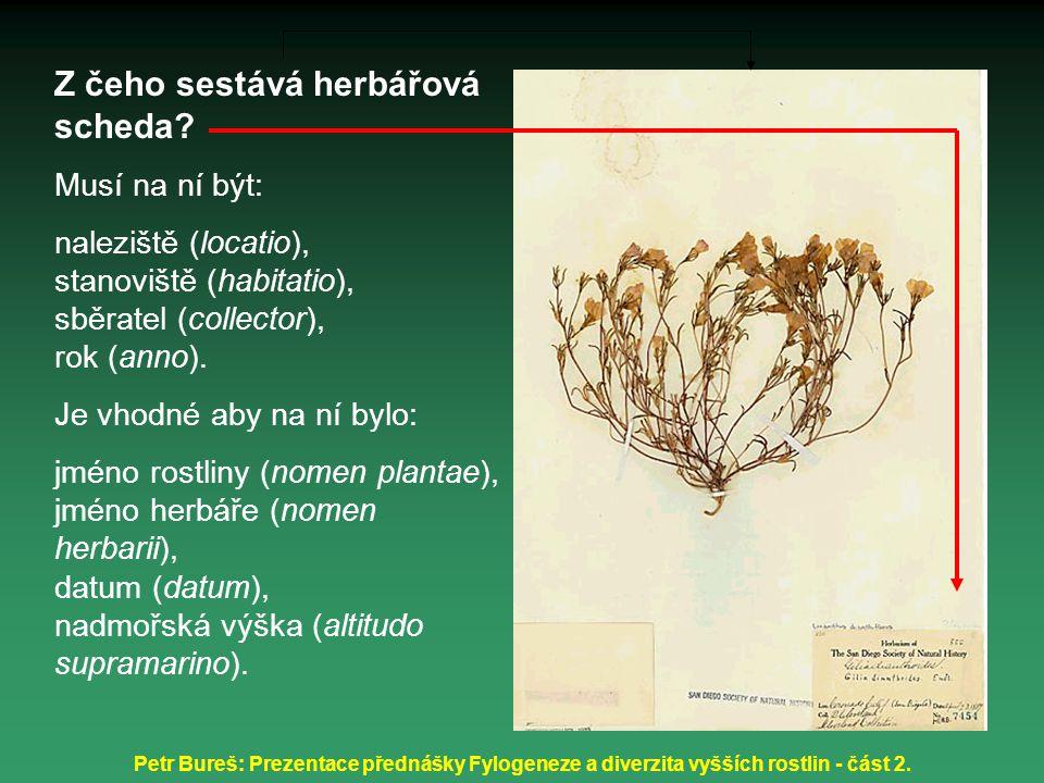 Z čeho sestává herbářová scheda
