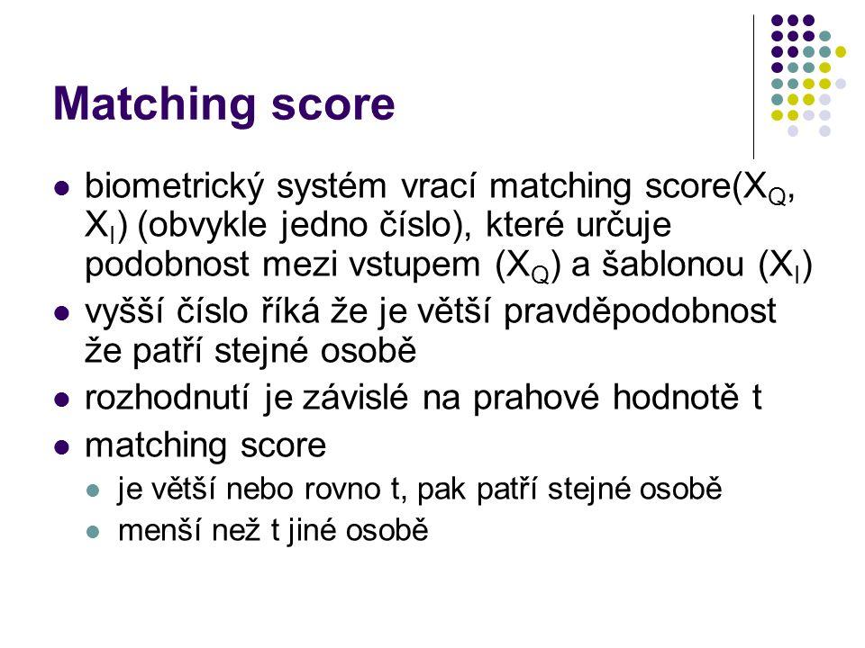 Matching score biometrický systém vrací matching score(XQ, XI) (obvykle jedno číslo), které určuje podobnost mezi vstupem (XQ) a šablonou (XI)