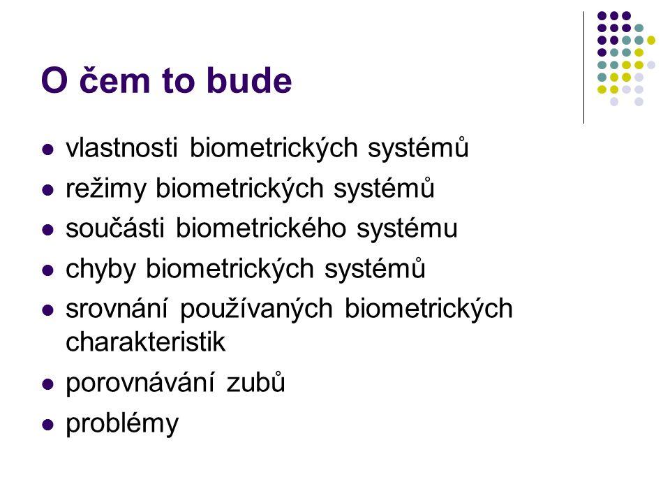 O čem to bude vlastnosti biometrických systémů
