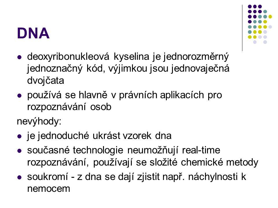 DNA deoxyribonukleová kyselina je jednorozměrný jednoznačný kód, výjimkou jsou jednovaječná dvojčata.