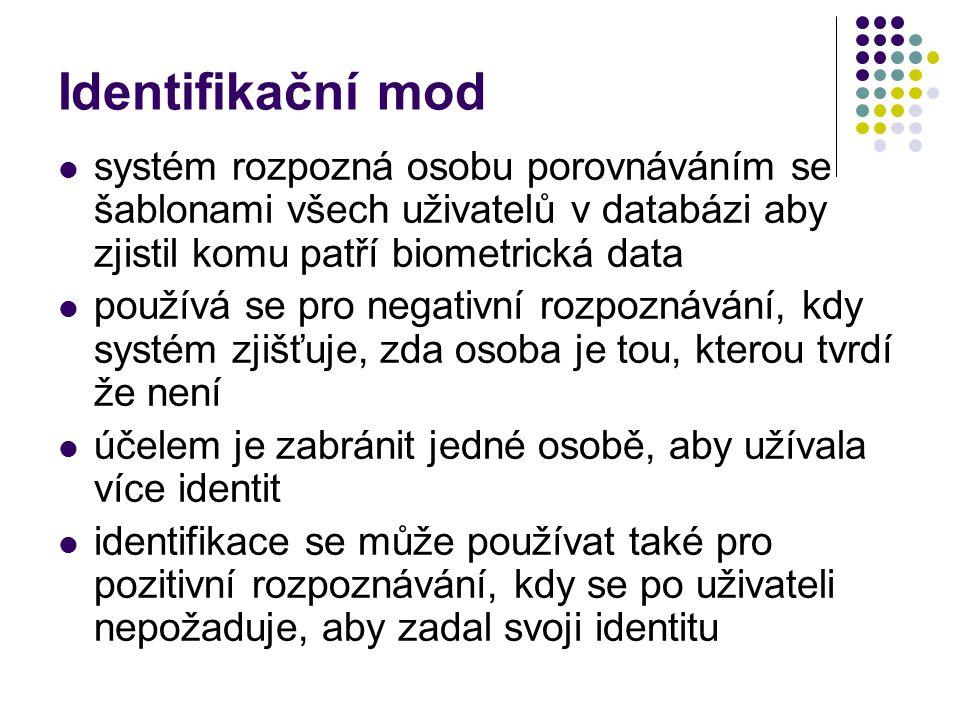 Identifikační mod systém rozpozná osobu porovnáváním se šablonami všech uživatelů v databázi aby zjistil komu patří biometrická data.