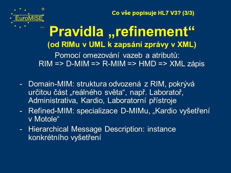 """Pravidla """"refinement (od RIMu v UML k zapsání zprávy v XML)"""