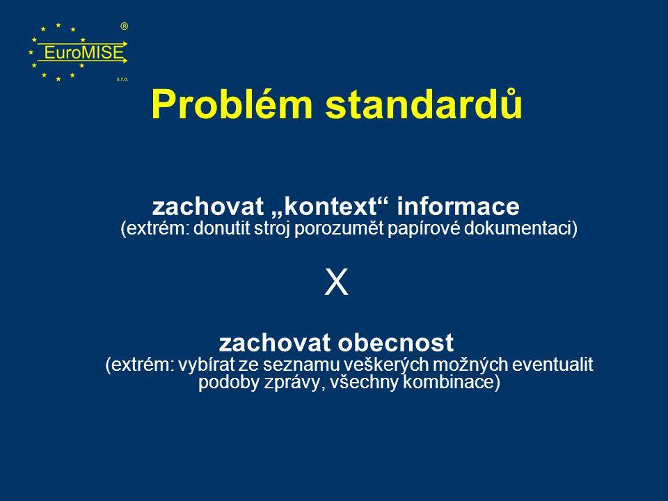 """Problém standardů zachovat """"kontext informace (extrém: donutit stroj porozumět papírové dokumentaci)"""
