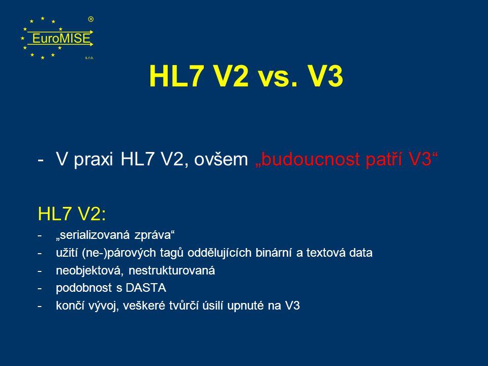 """HL7 V2 vs. V3 V praxi HL7 V2, ovšem """"budoucnost patří V3 HL7 V2:"""