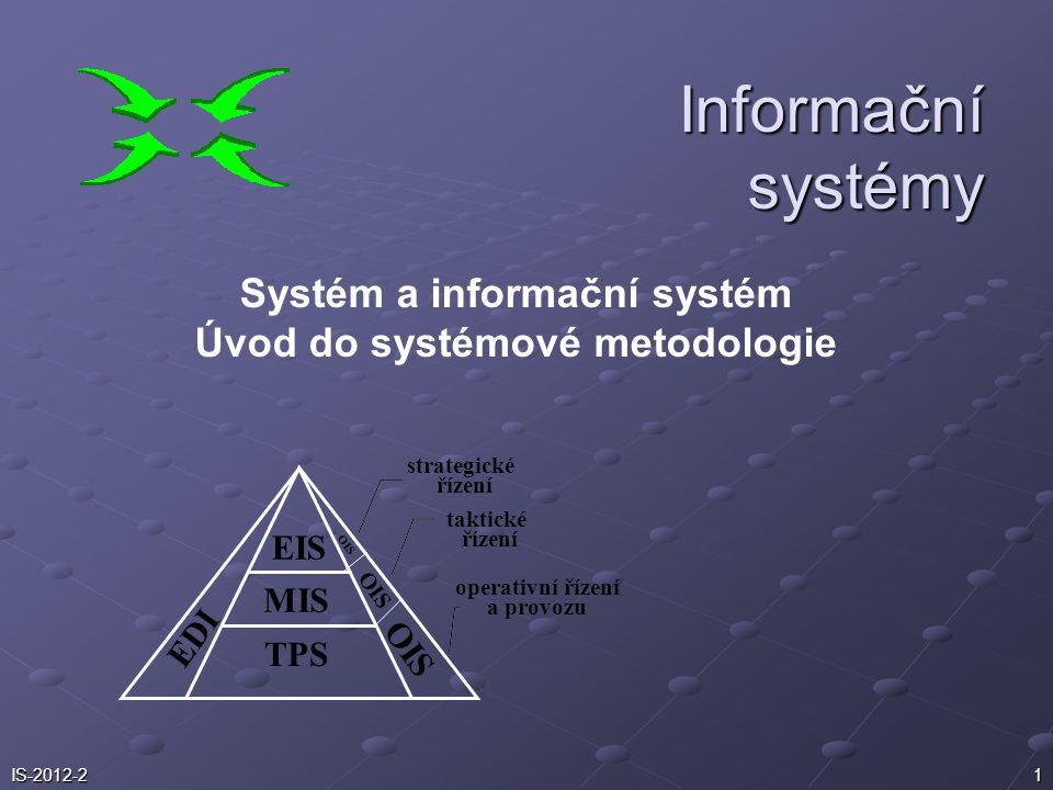 Systém a informační systém Úvod do systémové metodologie