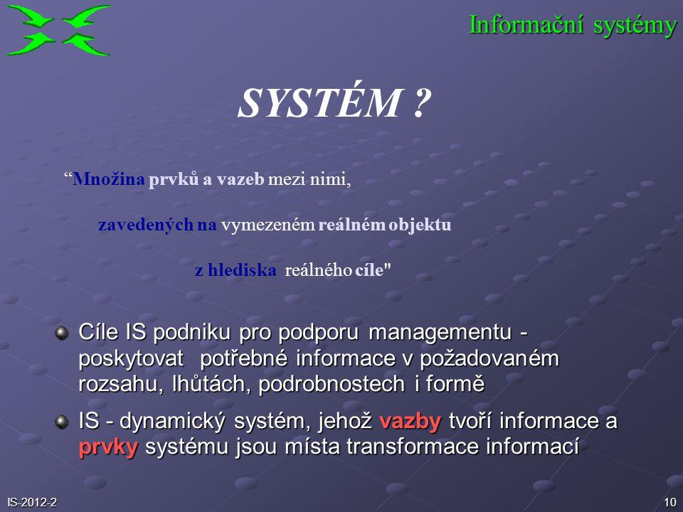 SYSTÉM Informační systémy