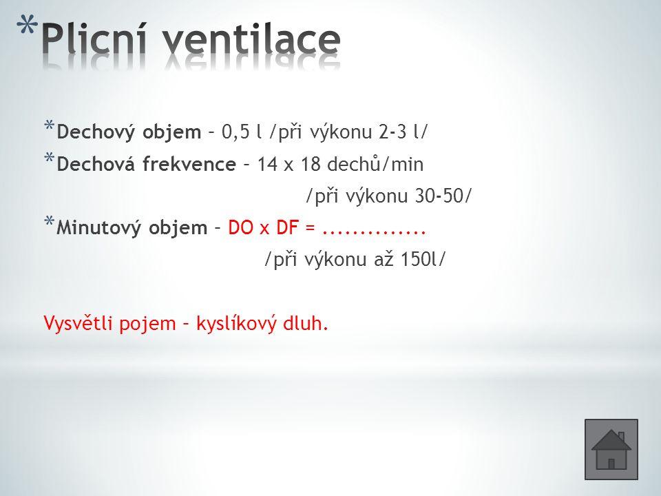 Plicní ventilace Dechový objem – 0,5 l /při výkonu 2-3 l/