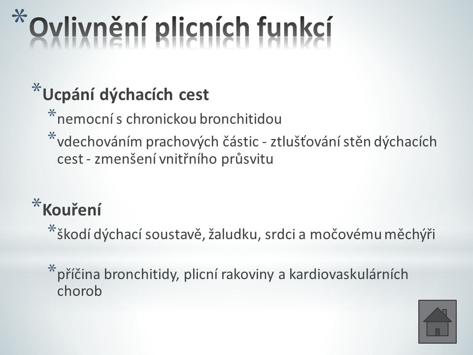 Ovlivnění plicních funkcí