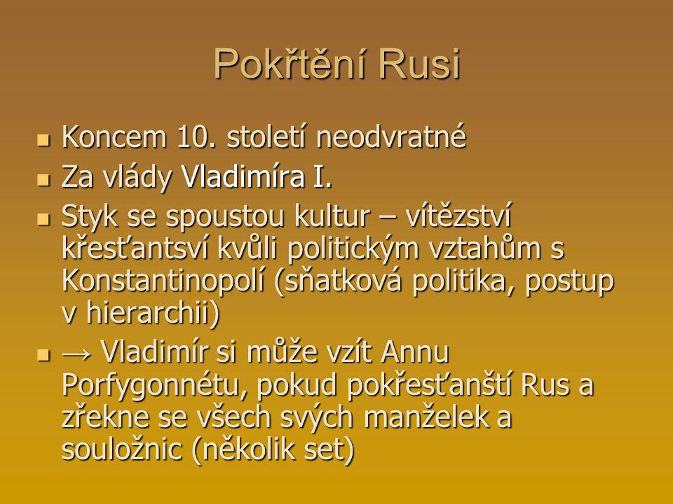 Pokřtění Rusi Koncem 10. století neodvratné Za vlády Vladimíra I.