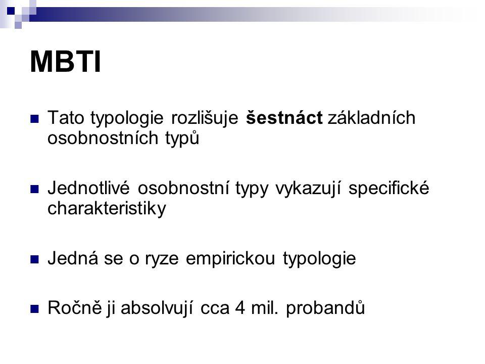 MBTI Tato typologie rozlišuje šestnáct základních osobnostních typů