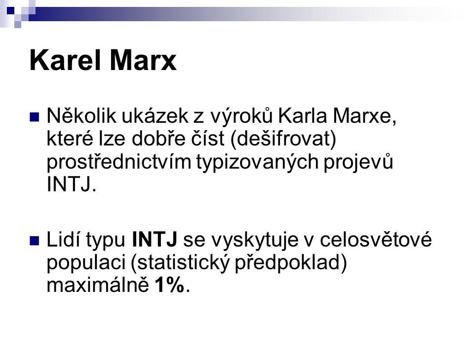 Karel Marx Několik ukázek z výroků Karla Marxe, které lze dobře číst (dešifrovat) prostřednictvím typizovaných projevů INTJ.