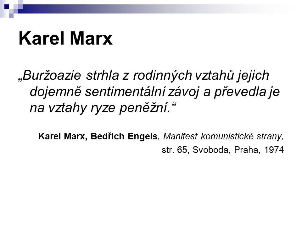 """Karel Marx """"Buržoazie strhla z rodinných vztahů jejich dojemně sentimentální závoj a převedla je na vztahy ryze peněžní."""