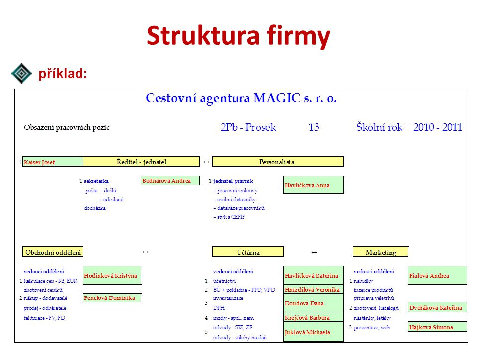 Struktura firmy příklad: