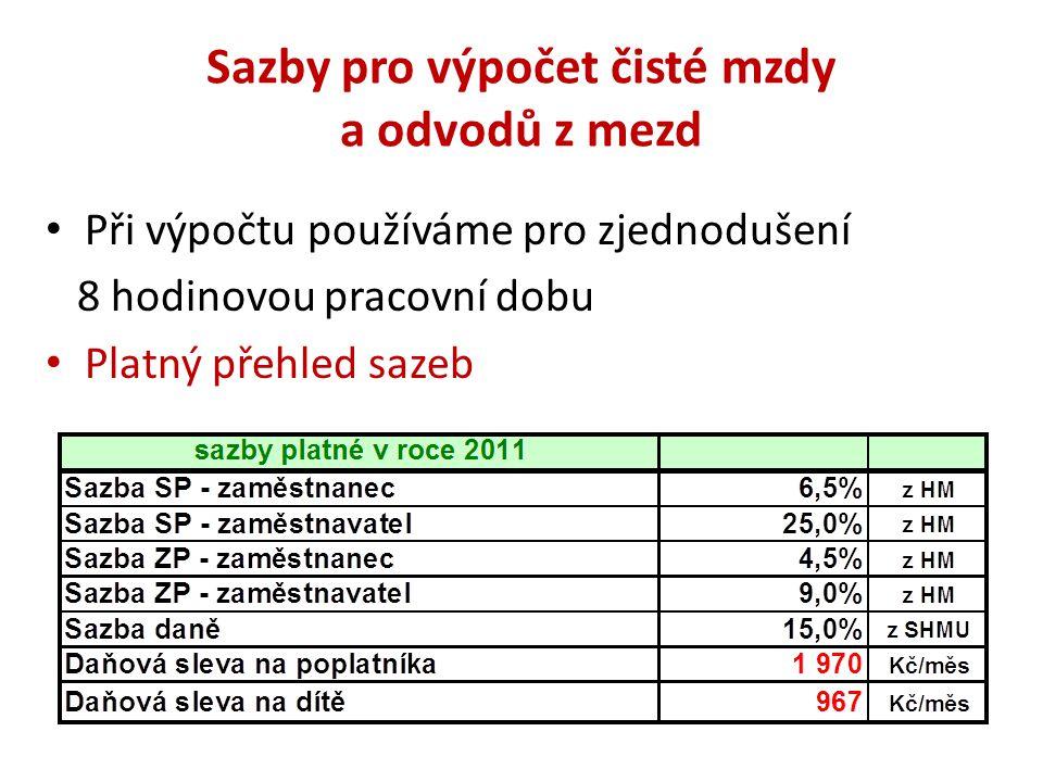 Sazby pro výpočet čisté mzdy a odvodů z mezd