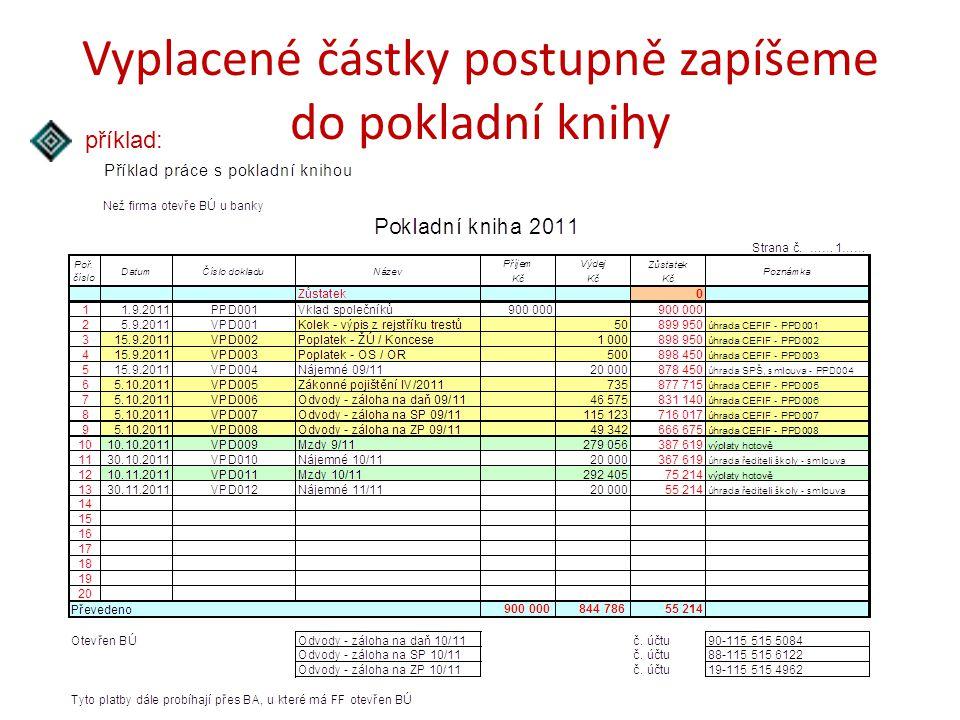 Vyplacené částky postupně zapíšeme do pokladní knihy