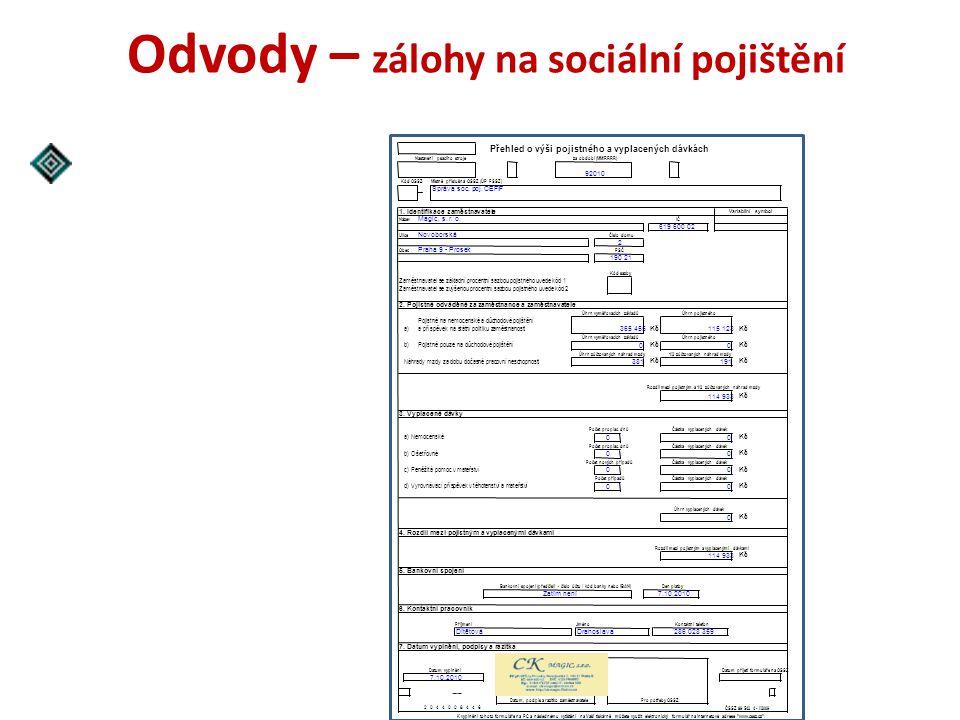 Odvody – zálohy na sociální pojištění