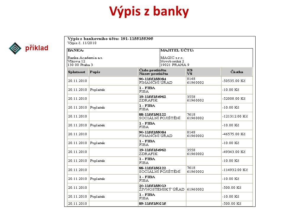 Výpis z banky příklad