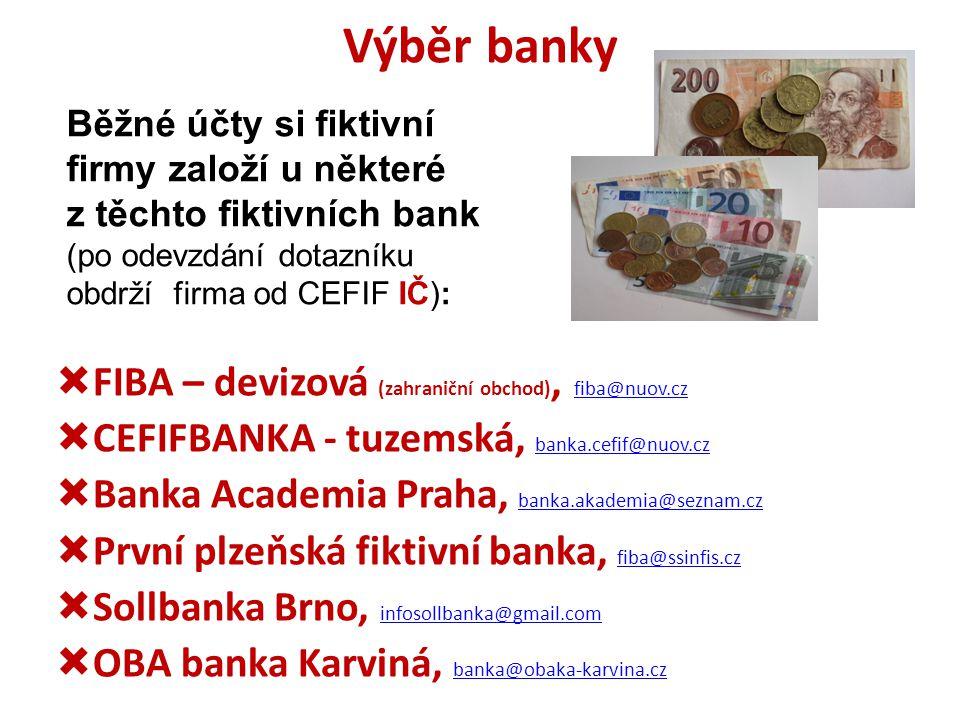 Výběr banky FIBA – devizová (zahraniční obchod), fiba@nuov.cz
